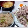 冷たい豚肉と炊き込みご飯・・・