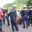 有事に備える・・・堀越自主防災組織が消防団員と合同訓練を行う