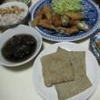 アスパラ・ベーコン巻き、魚肉せんべい