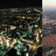 深夜と明け方の街並み