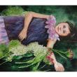 絵画販売・水彩・原画「紫陽花と少女」