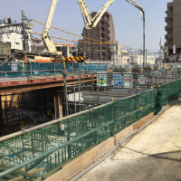 東長崎駅南口計画、4月の工事風景