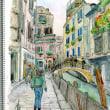 水彩画・ベネチュアを描く 12  臙脂の建物と煉瓦色の橋  280×370