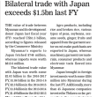 ミャンマー、日本との貿易額、2017年度はUS$15億6000万に減少。