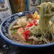 男の素人料理:ヘルシー麺。活力麺。グリーン色の乾麺でのそば体験と  称して作ってみた。「面食い」ですから、いつも「麺」の量は多めです。