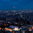 札幌夜景〜赤い満月上る