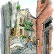 水彩画・ベネチュアを描く 5  バルコニーに花の咲く家が見える風景   260×360