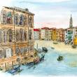 水彩画・ベネチュアを描く  40   グランドl・キャナル 2艘のゴンドラ   340×260