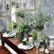 インテリア フェイクグリーン 淡いグリーンとガラス アンティーク花器