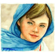 絵画販売・水彩画・原画「イスラムの少女」