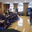 全校朝礼は、図書委員会の発表でした! 業間なわとびをしました!