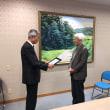 岡山大学名誉教授の奥八郎先生への感謝状贈呈式