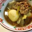 里芋、牛肉、コンニャク、ネギ、で芋煮