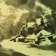 水墨画 冬の里山
