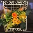 7月のプリザ、オレンジ色のバラを使ってアレンジ。