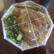 お弁当とマンゴーかき氷