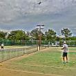台風が来る前に「テニス」です