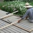 小屋の扉の修理