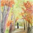 「水彩色鉛筆教室」11月は「紅葉の登山道を歩く」の仕上げ