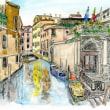 水彩画・ベネチュアを描く  35   立派な玄関と船着場    310×270