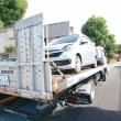 これより事故現状車の「ミラ・イース」を次週AA出品の為、積載車で輸送!