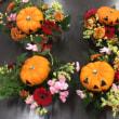 小学校へ花育ボランティア、ハロウィンのアレンジ。