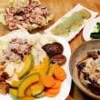 しゃぶしゃぶ肉と野菜の蒸し物
