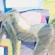 Nude-Muse-angel-Tableau-ヌード-芸術-アート-絵画:カラフルカーテン
