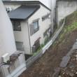 傾斜地の土砂落下防止柵新設・・・単管パイプの打込み作業で全身筋肉疲労(~_~;)