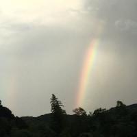 墓参りに虹