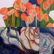 「花」のイメージを、色彩で自由に表現した作品を3点作りなさい。