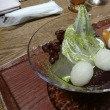 大阪・うめだ阪急 たねや茶屋 搗き(つき)たての杵搗き(きねつき)餅が頂ける ピスタチオの搗き餅と桑の葉パフェ