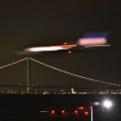 ライトアップの明石海峡大橋と関空 着陸機のコラボはできるか・❣️・・挑戦記