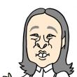 ロバート秋山さんのものまねをする丸山礼さんの似顔絵