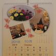 10月の活け花とカレンダー