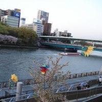 大阪城公園の桜と桃&大川風景120414