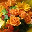 曾孫からの花束贈呈