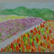 水彩画で淡路花さじきを描く