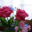 6月の、玄関の室礼にバラの花他を活けました。