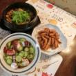 カレーうどん&タコとキュウリのもずく酢&イカ唐揚げ