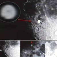 月のまわりを飛行していた巨大な円盤状のUFO と月の裏の基地