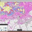 市役所の標高地図(市予算支出)と、国土地理院の色別標高地図(無料)。に具体的比較