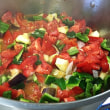 イタリアントマトのコストルート・ディ・パルマとズッキーニでラタトゥイユ。そしてトマトのピッツァです。