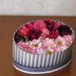 楕円形のボックスに花を一杯