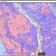 全国と、名古屋市と周辺のゼロ メートル地帯の標高の範囲の地図。0~-1メートル。-1~-2M。-2~-3M。-3M以下。の4段階範囲