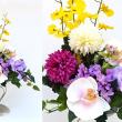造花の胡蝶蘭とマムの仏花スタンド