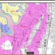 子どもたちが津波避難訓練。茨城県高萩市の東小学校と東幼稚園。標高範囲6色地図
