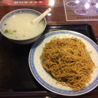 カキソース和えソバ+海老入りお粥@四谷「嘉賓」