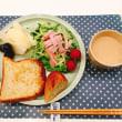 ハムときゅうりのサラダの朝ごはん