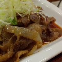 松屋 京成大久保 牛焼肉の旨辛炒め定食  と ミニ牛めし
